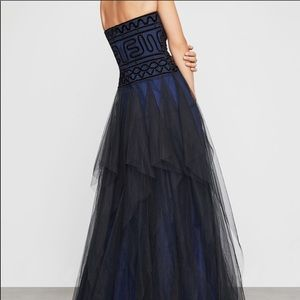 BCBGMAXAZRIA Strapless Embroidered Lace Gown